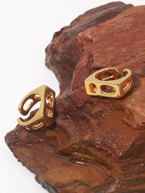 TINGS Brass Hollow Geometric Vintage Band Ring 0