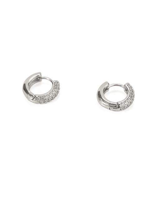 platinum Brass Cubic Zirconia Geometric Dainty Huggie Earring