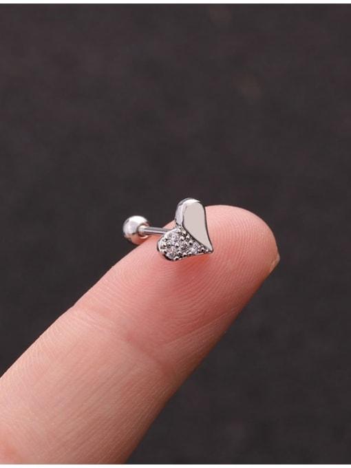 HISON Brass Cubic Zirconia Cross Cute Stud Earring 4