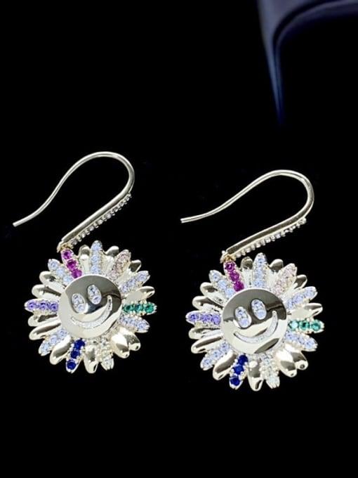SUUTO Brass Cubic Zirconia Sun Flower Luxury Hook Earring 2