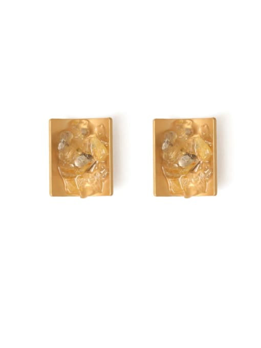 Five Color Alloy Resin Geometric Ethnic Stud Earring