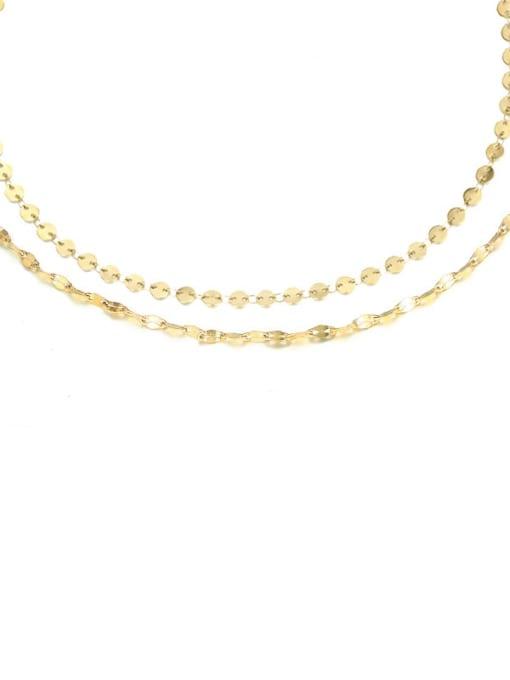 14k Gold Titanium Steel Round Chain Minimalist Multi Strand Necklace