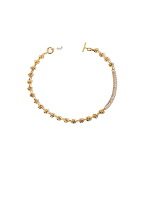 TINGS Brass Imitation Pearl Geometric Vintage Necklace