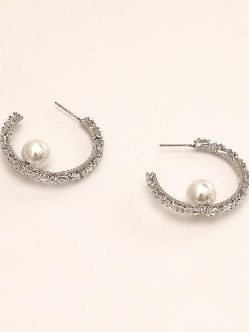 White K Brass Cubic Zirconia Geometric Vintage Hoop Earring