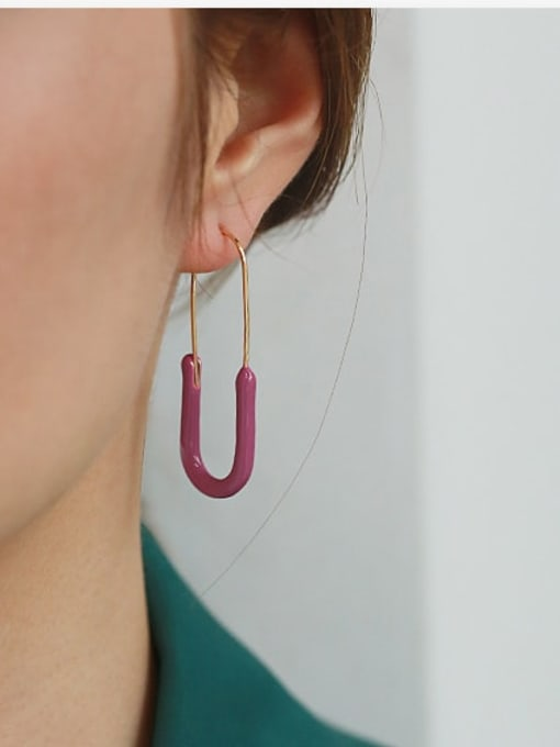 ACCA Brass Enamel Geometric Pin Minimalist Hook Earring 1