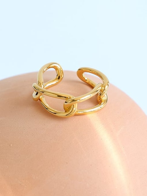 Five Color Brass Hollow Geometric Minimalist Stackable Ring 2
