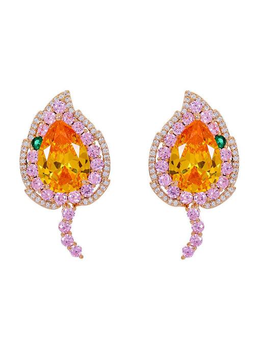 Pink yellow love Brass Cubic Zirconia Heart Luxury Stud Earring