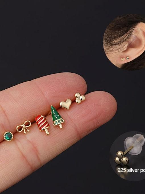 HISON Brass Cubic Zirconia Enamel Heart Cute Single Earring