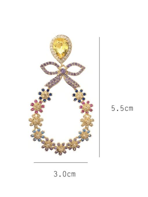 SUUTO Brass Cubic Zirconia Flower Luxury Chandelier Earring 1