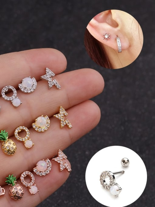 HISON Brass Cubic Zirconia Irregular Cute Stud Earring(Single)