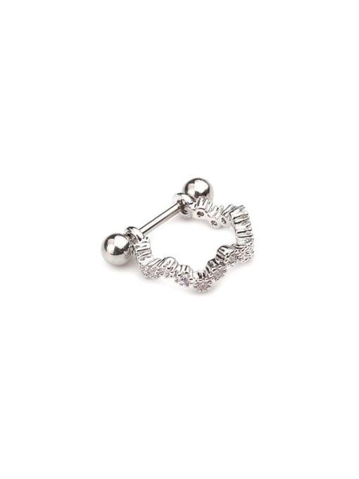 Platinum 2# Brass Cubic Zirconia Irregular Minimalist Huggie Earring