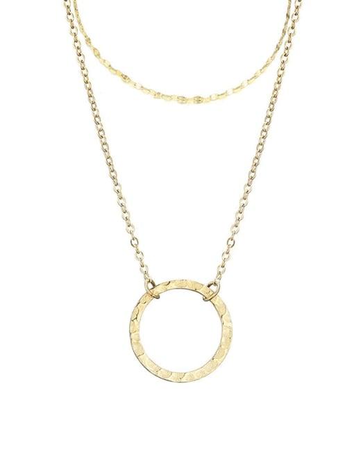 golden Stainless steel Round Minimalist Multi Strand Necklace