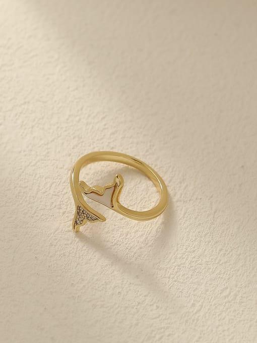 HYACINTH Brass Shell Geometric Minimalist Band Ring 0