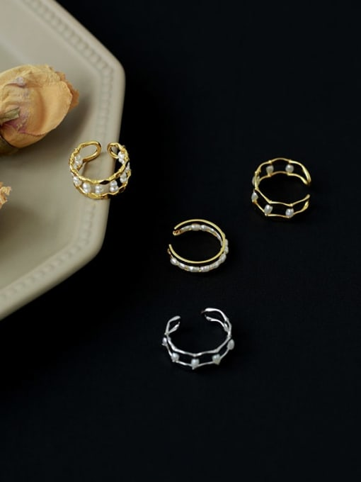 Five Color Brass Imitation Pearl Geometric Vintage Stackable Ring 2