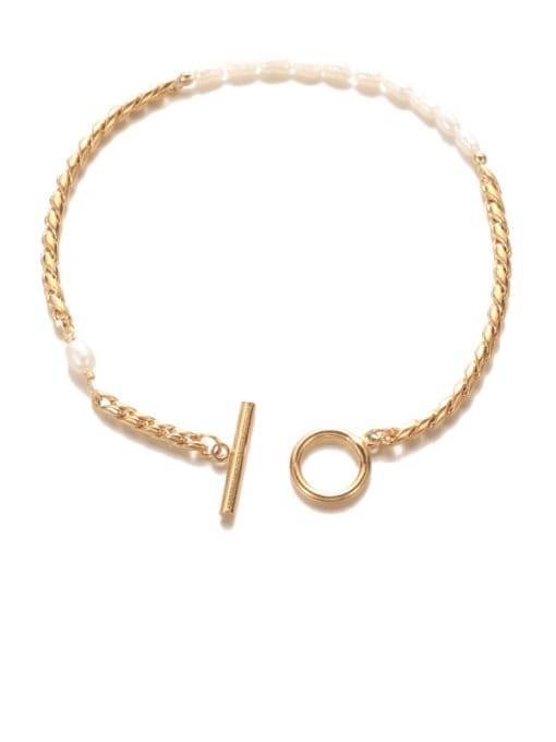 Pearl Bracelet Brass Geometric Minimalist Choker Necklace