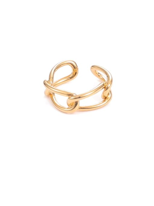 Five Color Brass Hollow Geometric Minimalist Stackable Ring 0