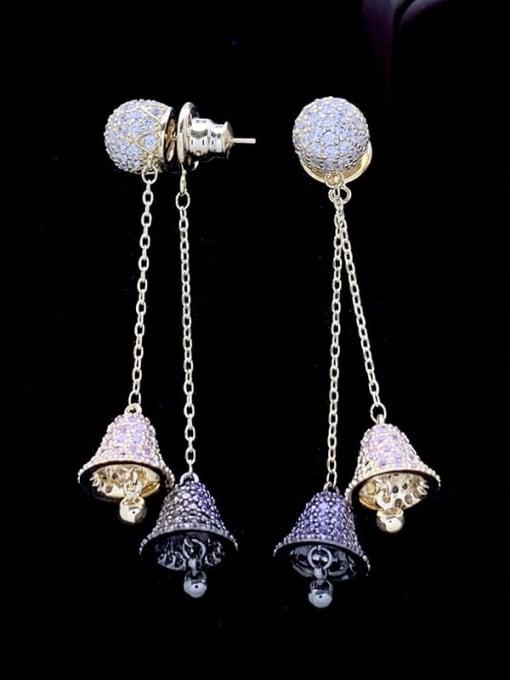 SUUTO Brass Cubic Zirconia Bell Luxury Threader Earring 3