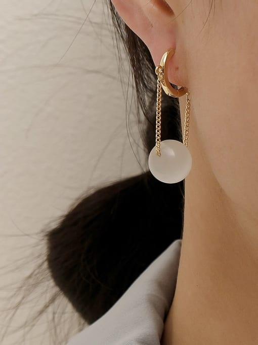 HYACINTH Brass Cats Eye Geometric Minimalist Drop Earring 1