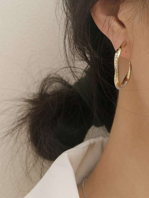 HYACINTH Brass Cubic Zirconia Geometric Hip Hop Hoop Earring 1