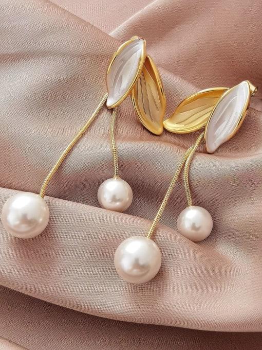 HYACINTH Brass Shell Tassel Minimalist Drop Earring 0