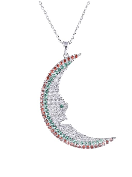 YILLIN Brass Cubic Zirconia Moon Statement Necklace