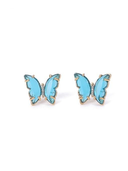 Light blue Brass Cubic Zirconia Butterfly Minimalist Stud Earring