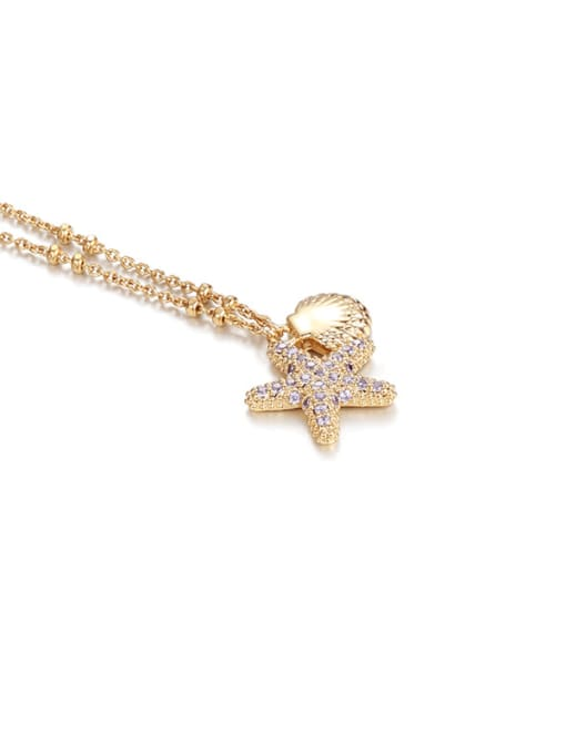golden Brass Cubic Zirconia Star Minimalist Necklace