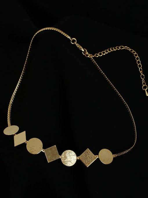 Five Color Brass Geometric Minimalist Necklace 4