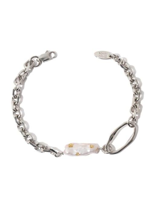 TINGS Brass Freshwater Pearl Irregular Vintage Link Bracelet 0