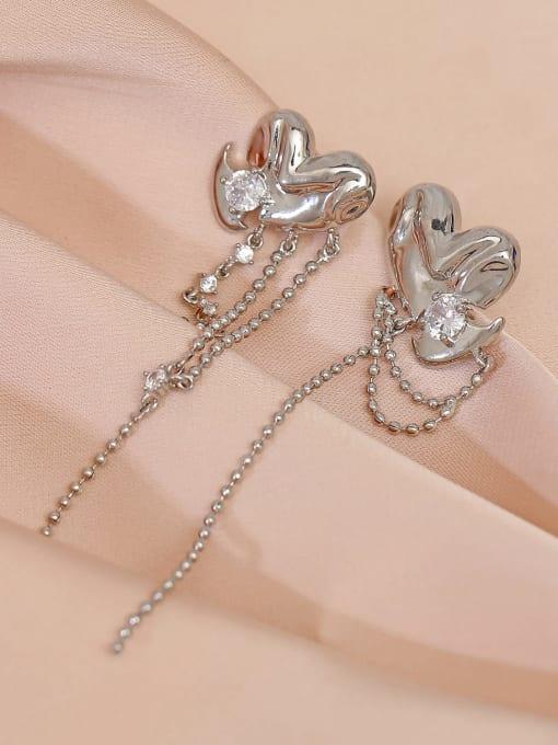 HYACINTH Brass Cubic Zirconia Tassel Minimalist Drop Earring 2