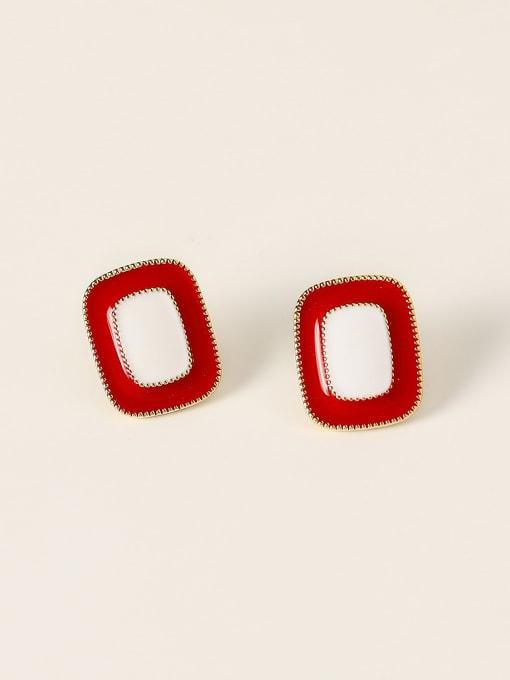 14K golden red Brass Enamel Geometric Vintage Stud Earring