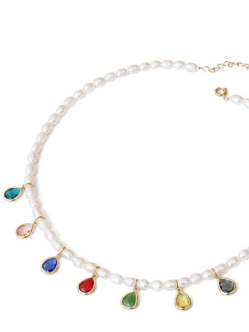 TINGS Brass Freshwater Pearl Water Drop Minimalist Necklace 4