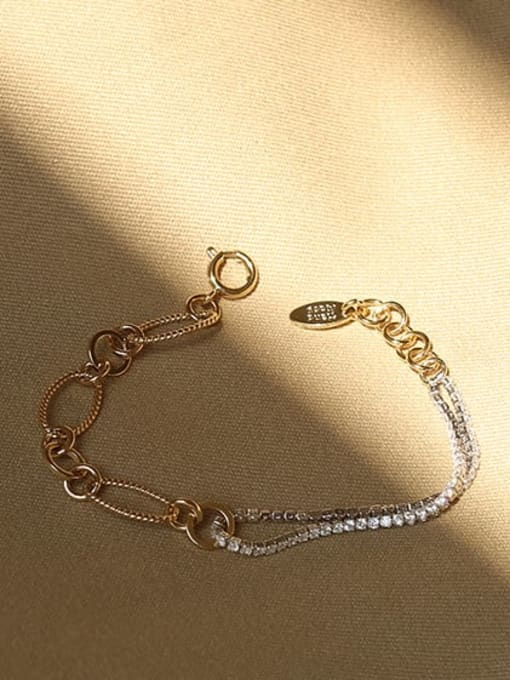 ACCA Brass Cubic Zirconia  Vintage Asymmetric hollow chain Link Bracelet 1