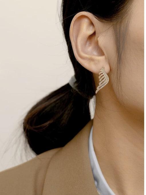 HYACINTH Brass Cubic Zirconia Wing Vintage Stud Earring 1