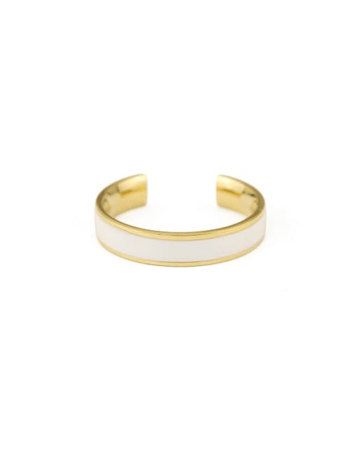 White ring Brass Enamel Geometric Minimalist Band Ring