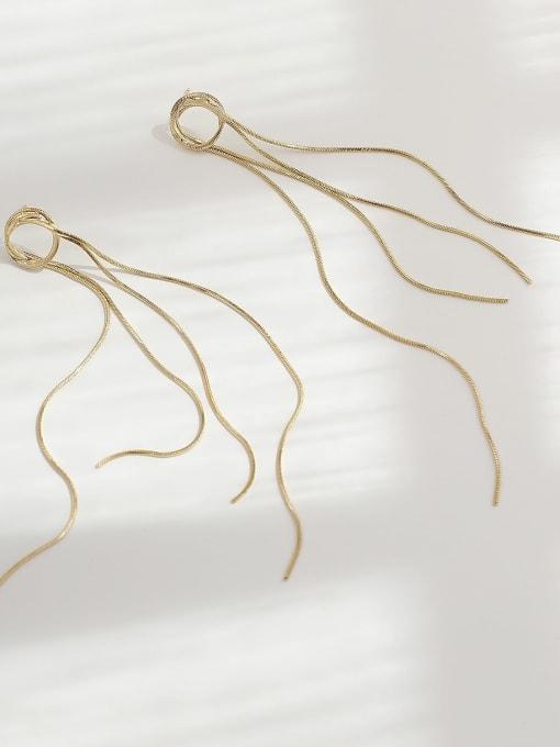 14k Gold Brass Tassel Minimalist Threader Earring
