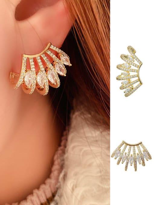 OUOU Brass Cubic Zirconia Geometric Statement Clip Earring 1