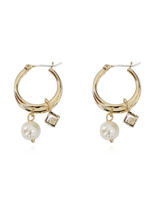HYACINTH Brass Cubic Zirconia Round Vintage Huggie Earring