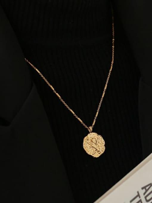 ACCA Brass Lion Vintage round pendant Necklace 1