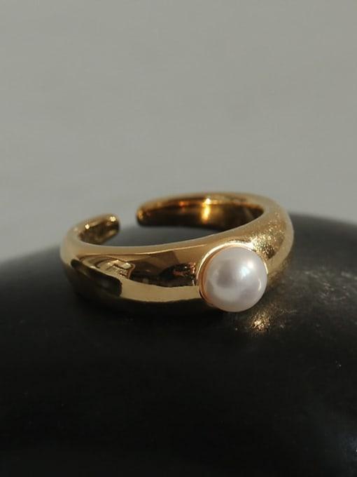TINGS Brass Imitation Pearl Geometric Vintage Band Ring 2