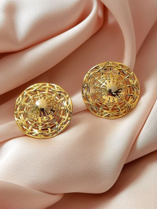 18k Gold Brass Hollow Round Vintage Stud Earring