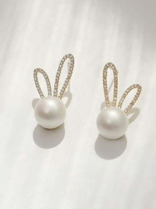 HYACINTH Brass Imitation Pearl Irregular Bohemia Rabbit ears  Stud Earring 0