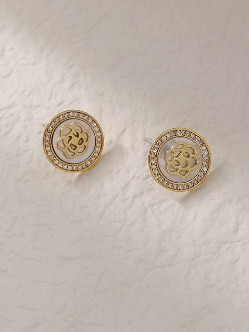 14k Gold Brass Shell Round Vintage Stud Trend Korean Fashion Earring