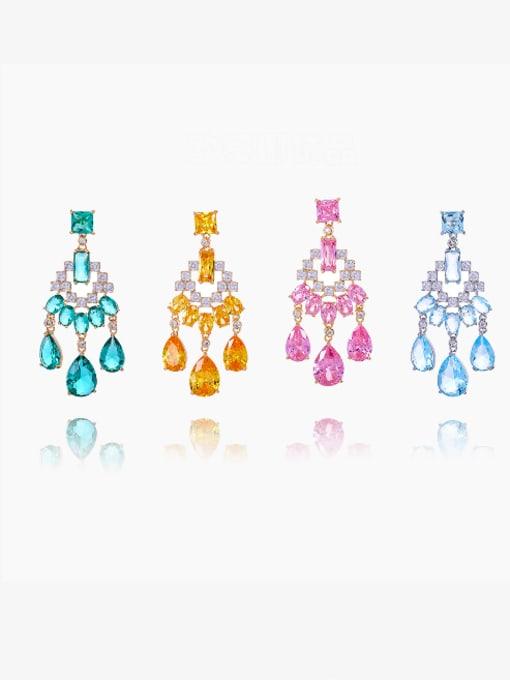 OUOU Brass Cubic Zirconia Tassel Luxury Drop Earring