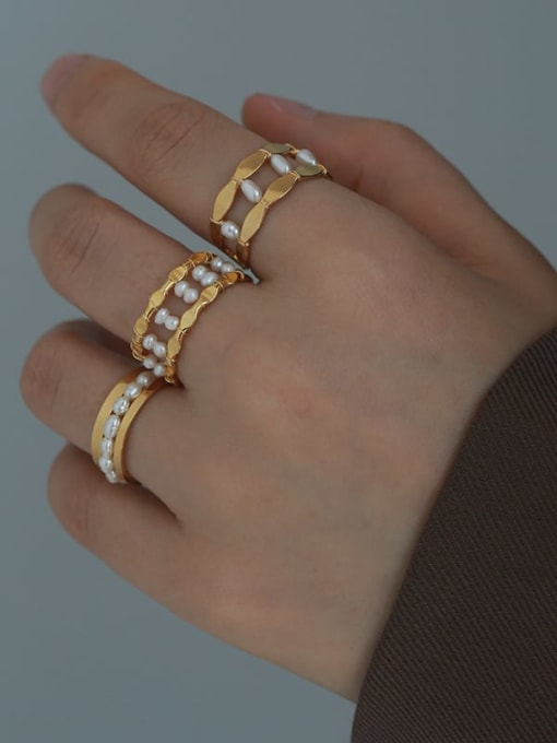 Five Color Brass Imitation Pearl Geometric Vintage Stackable Ring 3