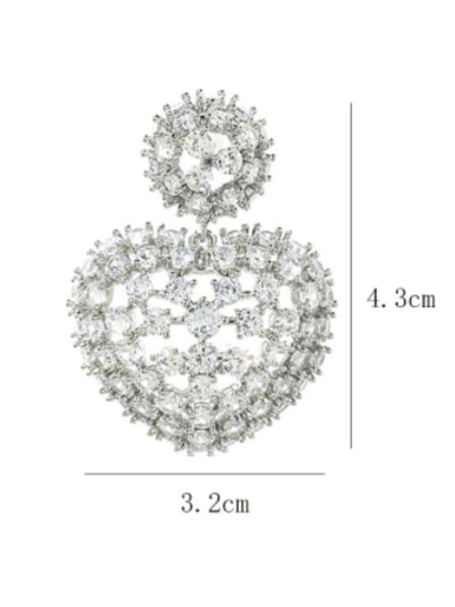 SUUTO Brass Cubic Zirconia Heart Luxury Drop Earring 1