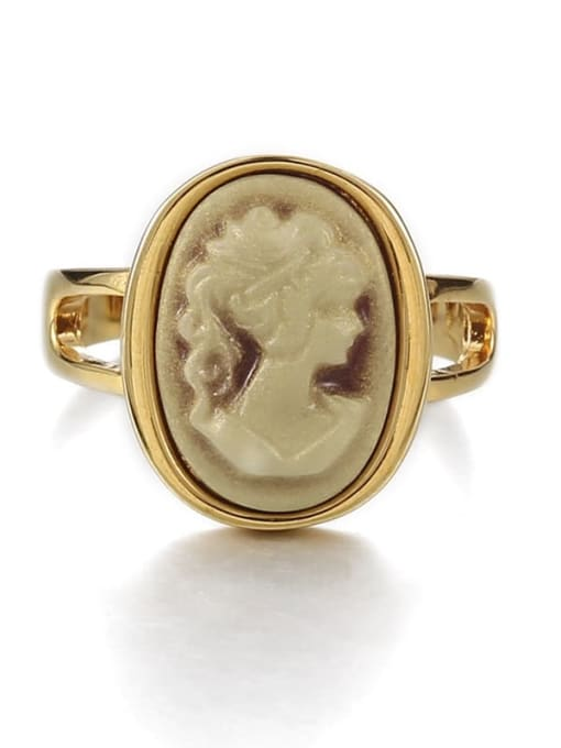 Make an old ring Brass Acrylic Geometric Vintage  Portrait Band Ring