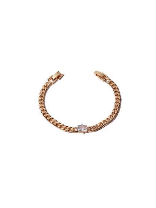 White zirconium Bracelet Brass Cubic Zirconia Geometric Hip Hop Necklace