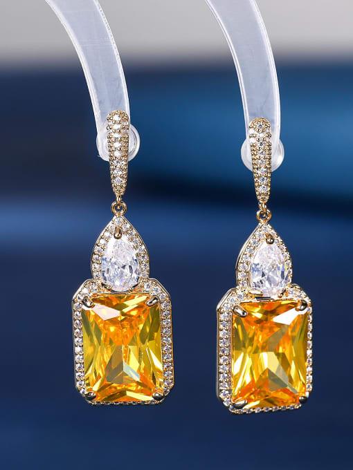 yellow Brass Cubic Zirconia Geometric Luxury Drop Earring