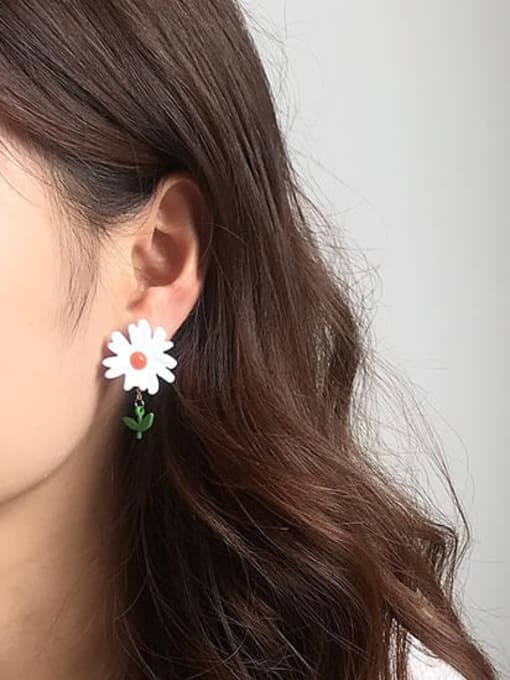 Five Color Alloy Enamel Flower Cute Stud Earring 1